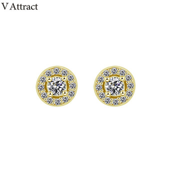 V Attract Christmas Gift CZ Round Square Stud Earrings Fashion Jewelry Women Bijoux Cubic Zirconia Gold Boucle D'oreille Femme 476